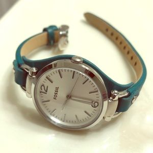 Genuine leather, teal fossil watch